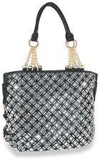Womens Rhinestone  Bling Fashion Handbag Tote(black)