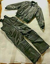 VINTAGE XL Leather Yamaha Snowmobile Suit 2 pc Bibs Chill Factor Black