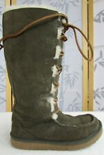 5 | UGG Australia Whitley Women Olive Green Leather Sheepskin Lined Lace Up Boot