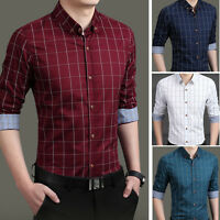 New Men's Fashion Plaids Luxury Casual Slim Formal Stylish Dress Shirts UST6283