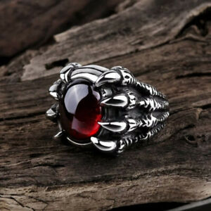 Men's Vintage Dragon Claw Ring Retro Domineering Red Gem Ring Gift US