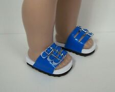 """Blue Ez2 Close-Buckle Strap Sandals Doll Shoes For 18"""" American Girl (Debs)"""