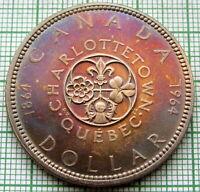CANADA 1964 1 DOLLAR, CHARLOTTETOWN & QUEBEC ANNIV, SILVER LUSTRE COLOUR TONED