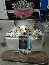 """🔥Vintage New Old Stock Encon Ceiling Fan """"52 Antique Brass & Brown Blades🔥"""