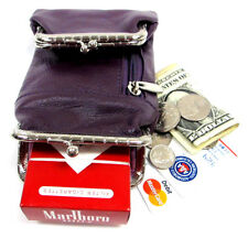Genuine Leather Cigarette Case + Coin Pouch Combo 2 Snap+1 Zipper Pocket- PURPLE