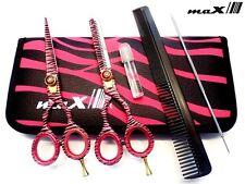 """Professional 5.5"""" Hairdressing Barber Salon Scissor GIFT SET Kit PINK ZEBRA Hair"""