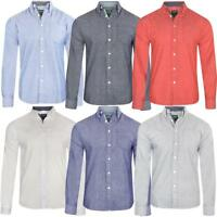 Mens Long Sleeved Oxford Shirt Button Down Collar 100% Cotton