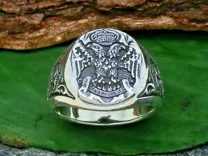Doppeladler Siegelring 925 Sterling Silber Ring Adler Herrenring