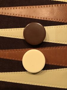 """Backgammon Replacement Chips 1 Cream & 1 Brown Large -1-1/8"""" (2) Chips Only"""