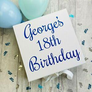 PERSONALISED BIRTHDAY WHITE BOX, Milestone Birthday Keepsake Memory Gift Box