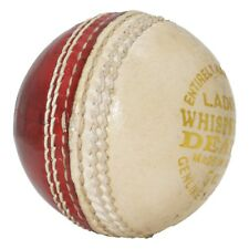 Opttiuuq Whispering Death Leather Cricket Ball. 2 Piece Red/White. JUNIOR 4.75oz