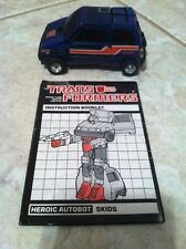 G1 Transformers Skids Not Complete - Wheel Needs Pin Look- Hasbro