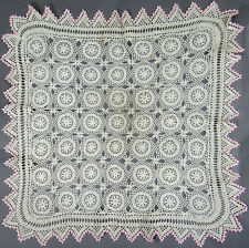 Antique Victorian Lace Doily Runner Crochet Hand Made Ecru Pink Border 22 in Vtg