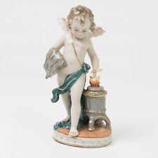 "Antique German Porcelain Figurine Cupid Iron Stove 7.25"" Flame Blacksmith Angel"