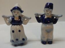 Dutch Boy and Girl Figurine Blue and White Porcelain Vintage Set 2 Japan
