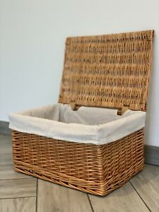 New Large Wicker Natural Style Basket With Lid And Lining Hamper Storage Lined