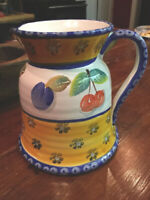 "VTG ITALY Hand Painted Wine Pitcher Carafe Floral Decanter 7.5""T Base 7"""