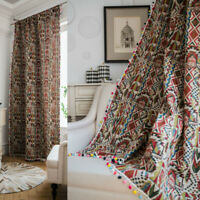 Cotton Blend Tassel Window Curtain Drape Blackout Rod Pocket Curtains Floral New