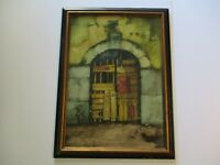RISSONE SIGNED VINTAGE PAINTING ARCHETECTURAL MODERNISM EXPRESSIONISM DOOR ENTRY