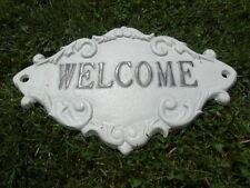plaque mural welcome , fronton en fonte pat blanc et noir , nouveau !