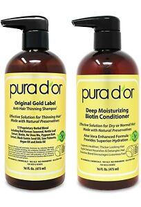 PURA D'OR Dor Original Gold Label Anti-Hair Thinning Shampoo & Conditioner Set.