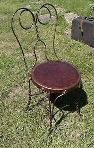 Antique Twist Wire Ice Cream Parlor Chair Some Copper Flash Finish