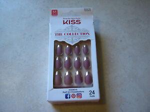 1 Kiss The Collection Nails SSC03 62272 Dark Pink Mauve Gold Shiny Tips MEDIUM