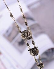 Ancient Silver look Three 3 Triple Owls Pendant & Necklace 72cm/ 28 inch Chain