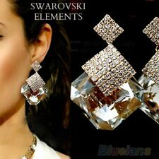 boucles d'oreilles pendantes Swarovski® Elements carré transparents luxe