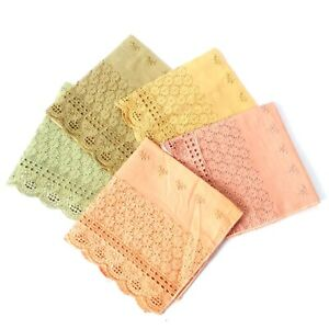 Chikan Cutwork Lacework Handkerchief Hanky Hankie Napkin Pocket Square Party N45