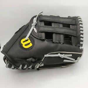 "Wilson Elite A2449 13"" Softball Glove Leftt Hand Throw Black Leather Oversized"