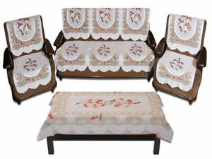 Floral 5 Seater Sofa Cover Set with 1 Center Table Cover Set -7pcs