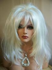 Drag Queen Wig Lightest Pale White Blond Teased and Feathered Sides Long