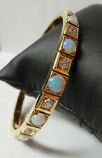 Beautiful Antique Opal & Diamond 14K Yellow Gold Hinged Bangle Bracelet