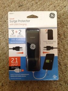 New GE 10516 3 Outlet Travel Surge Protector 350 Joules with USB ports