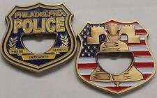 Philadelphia Police Dept Shield Coin Bottle Opener Antique Brass Soft Enamels