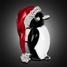 Christmas Rhinestone Cute Christmas Penguin Brooch Pin Xmas Gift Party