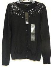 Central Park West Women's Sequin Cardigan Sweater   Black  Sz Small