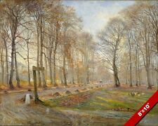 LATE AUTUMN DAY IN JAEGERSBORG COPENHAGEN DENMARK PAINTING ART REAL CANVAS PRINT