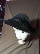 Antique Black silk Bicorn Hat chapeau