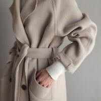 Coat Lapel Cashmere Jacket Oversize Outwear Belt Trench Womens Wool Blend Parkas
