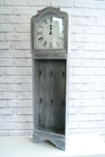 Vintage style Clock  French Grey Large Wall Clock with 6 hooks for hanging keys