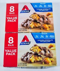 16 bars Atkins Snack CARAMEL CHOCOLATE NUT ROLL BAR 1.55oz each 03/11/2022