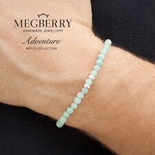 MEGBERRY Mens Beaded Bracelet 925 Sterling Silver & Chinese Amazonite UK seller