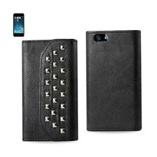 iPhone SE/5S/5 Case Studded Leather Wallet Protective Cover w/ Card Holder Black