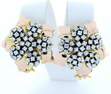 Star Flower Post Clip Earrings 14K Yellow Rose Gold Cz