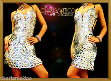 182a6cdf6402 Charismatico Silver DIVA Circular Sequin Showgirl Dance Sparkle Cocktail  Dress