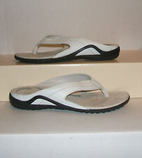 ECCO Women's White Soft Smooth Leather Casual Thongs Sandals 38 EUR / 8 US NICE!