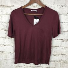New T by Alexander Wang Classic Pocket Tee Top Burgundy Short Sleeve Size XS NWT