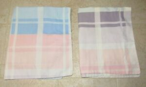 Pillow Shams Set of 2 Martha Stewart Standard Size Purple Blue Pink Plaid USA